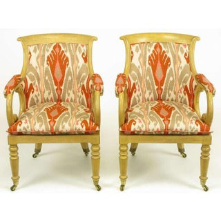 Pair of Interior Crafts Regency Scrolled Arm Chairs in Ikat Fabric Preview