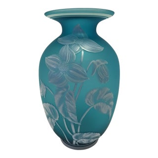 Fenton Blue Turquoise Vase For Sale