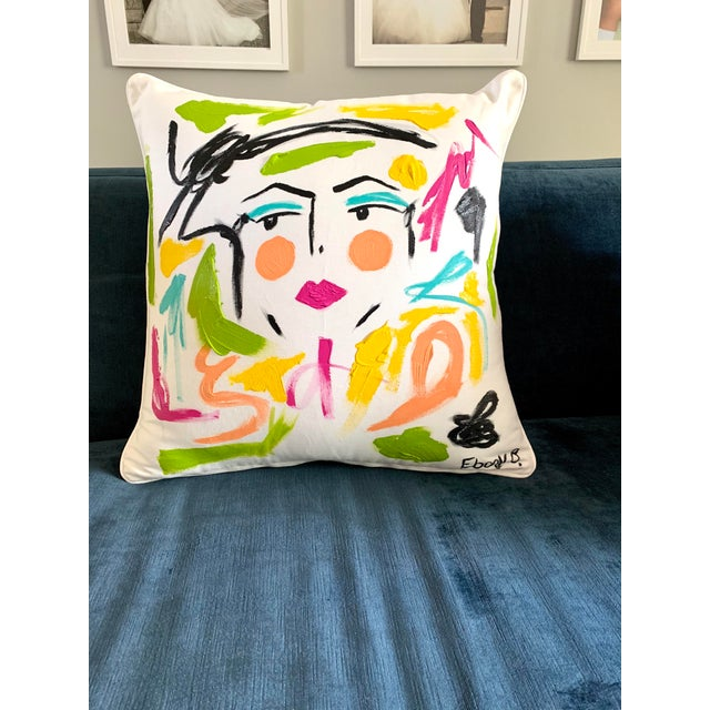 2010s Abstract Face Painting Lela Pillow For Sale - Image 5 of 5