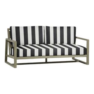 Summer Classics Avondale Teak Sofa in Cabana Stripe Midnight For Sale
