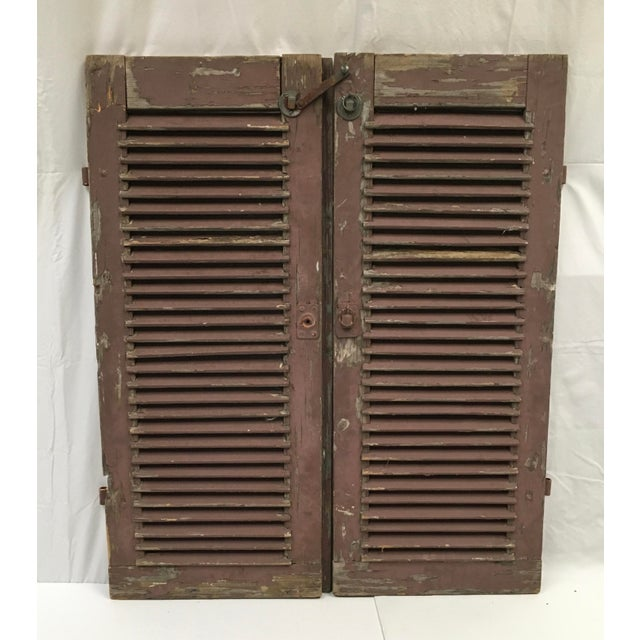 Antique French Painted Shutters - A Pair For Sale - Image 10 of 10