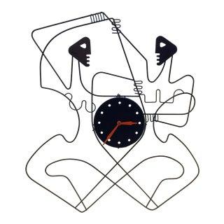 Rare Original 50's Design Frederick Weinberg Male Female Wall Clock For Sale