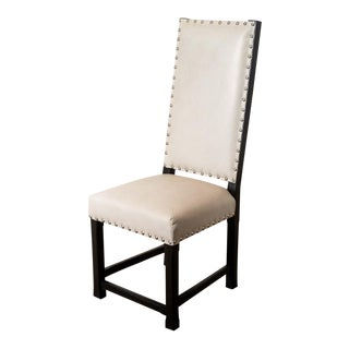 Lee Industries Upholstered Parchment Leather Hostess Chair For Sale