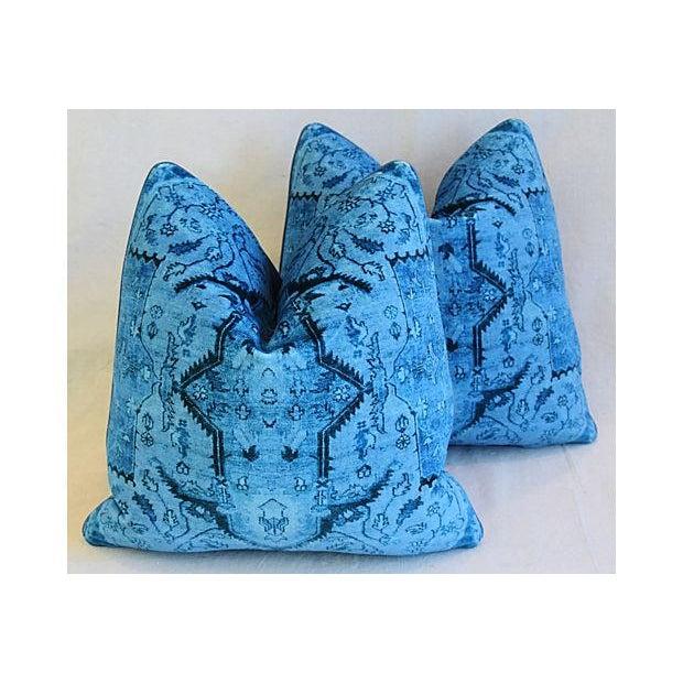 "Ralph Lauren Royal Blue Velvet Tapestry & Edelman Leather Pillows 20"" Square - Pair For Sale - Image 10 of 12"
