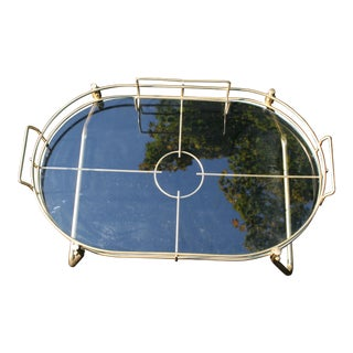 Mid-Century Modern Glass and Brass Tray Table For Sale