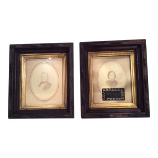 Antique Family Portraits in Lovely Wood and Gilt Frames - A Pair For Sale