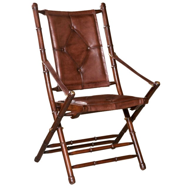 Leather Bamboo-Style Folding Chair - 20 Available For Sale
