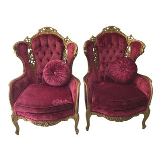 1950s Hollywood Regency Red Velvet Tufted Chairs - a Pair