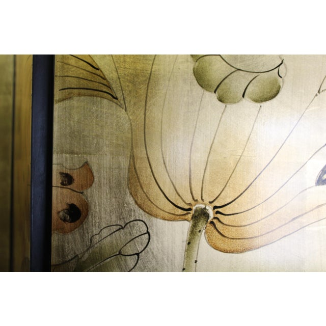 Chinese Golden Oriental Lotus Flower Birds Graphic Screen For Sale - Image 9 of 12