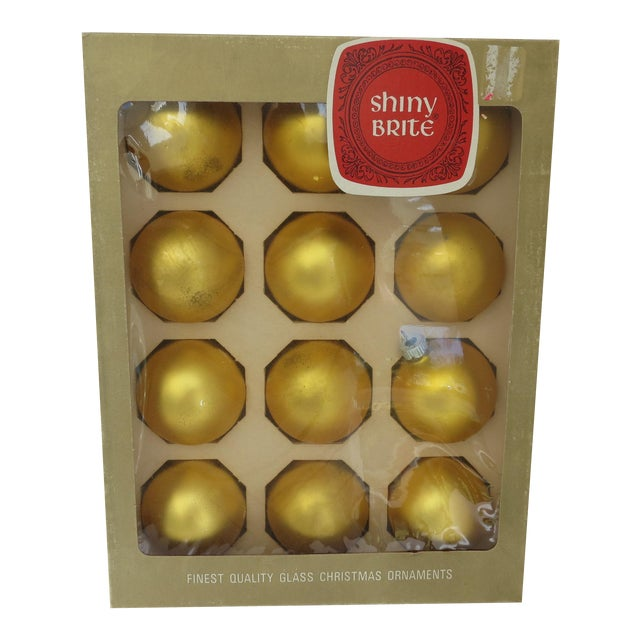 Vintage Shiny Brite Yellow Christmas Ornaments - Set of 12 - Image 1 of 4
