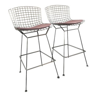Knoll Harry Bertoia Polished Chrome Barstools - a Pair For Sale