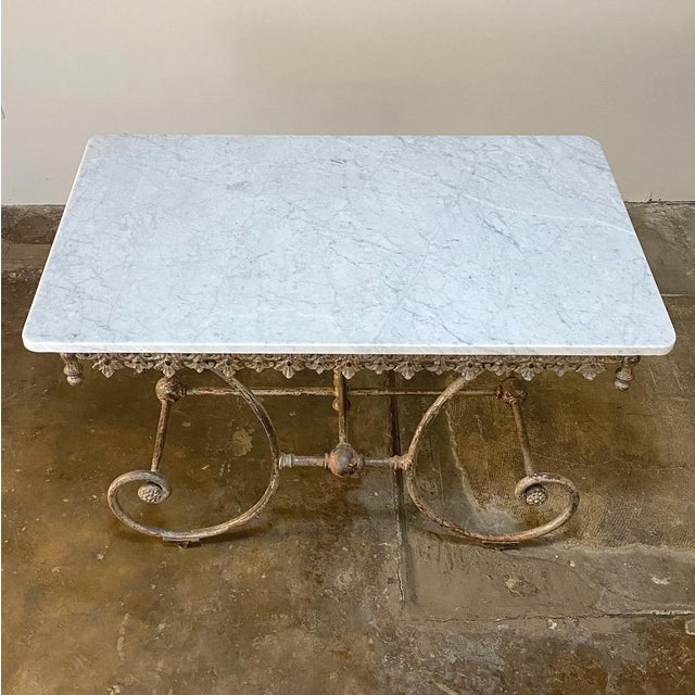 Alabaster 19th Century Iron Marble Top Confectioner's Table For Sale - Image 8 of 13
