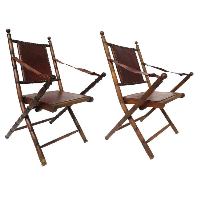 Campaign Style Leather & Ash Folding Chairs - Pair - Image 1 of 10