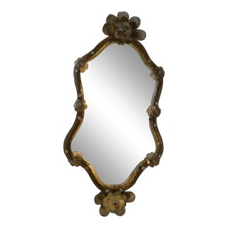 Mid-Century Modern Murano Gold Glass Ornate & Etched Venetian Wall Mirror, Italy For Sale