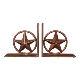 """Iron Star-In-Circle Bookends With Braided Metal """"Rope"""" Trim Detail - a Pair For Sale"""