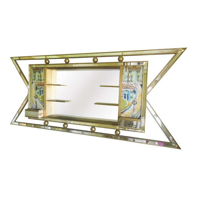 Mid-Century Atomic Lighted Mirror - Image 1 of 7
