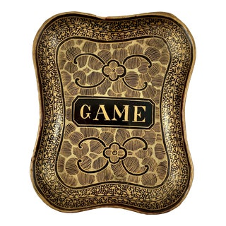 Mid-19th C. English Lacquer Papier-Mâché Chinoiserie Game Card Counter Tray For Sale