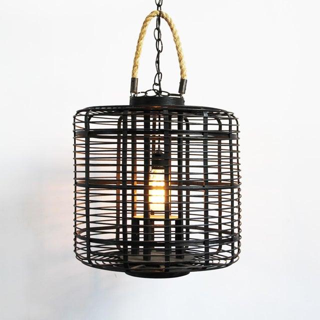 Black Bamboo & Rope Lantern - Image 2 of 2