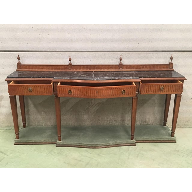 French 20th Century Louis XVI Style Neoclassical Console Table With Three Drawers For Sale - Image 3 of 13