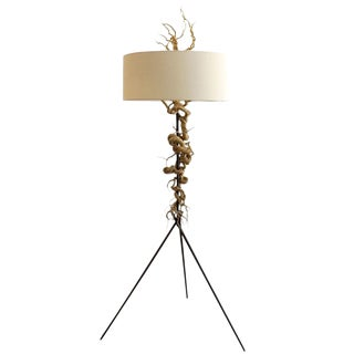 Twisted Brass Wire / Tripod Floor Lamp For Sale