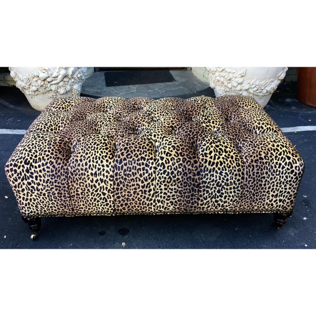 American Classical Superb Clarence House Designer Cheetah Leopard Tufted Ottoman For Sale - Image 3 of 5