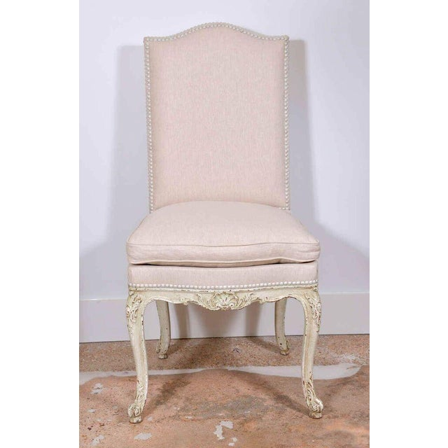 Lovely Set of Eight Painted French Dining Chairs | DECASO