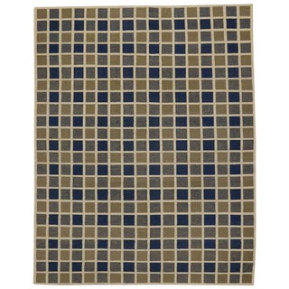 "20th Century Turkish Square Buffalo Plaid Pattern Kilim Rug - 8'7"" X 10'10"""