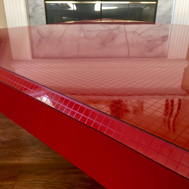 Contemporary Postmodern Red Occasional Table With Graph Pattern For Sale - Image 3 of 9