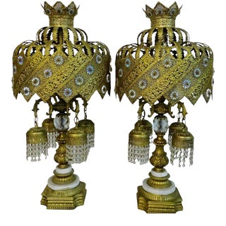 Vintage Gilt & Jeweled on Marble Bases Table Lamps - Set of 2 For Sale