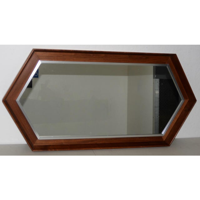 Walnut Framed Mirror by Arthur Umanoff for Howard Miller c.1965 Fantastic mid-century modern mirror designed by Arthur...