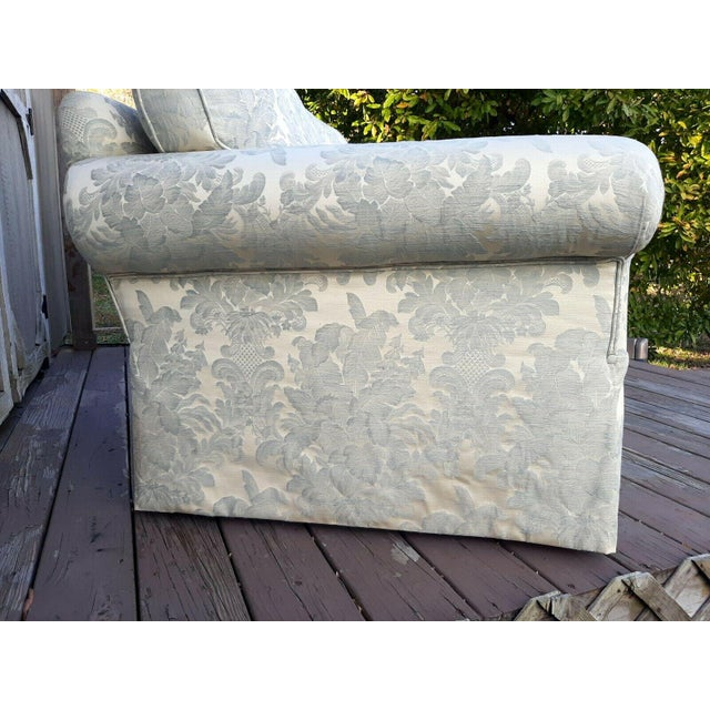Contemporary Formal Custom Built Blue on Ivory Silky Damask Upholstered Sofa For Sale - Image 3 of 13