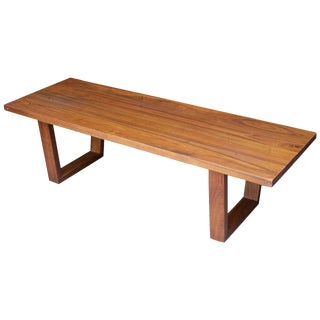1950s Paul Frankl Style Modern Farm House Studio Craft Walnut Entryway Bench For Sale
