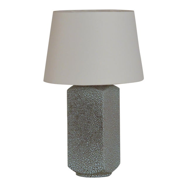 Art Deco Shagreen Glaze Ceramic Lamp With Parchment Shade For Sale