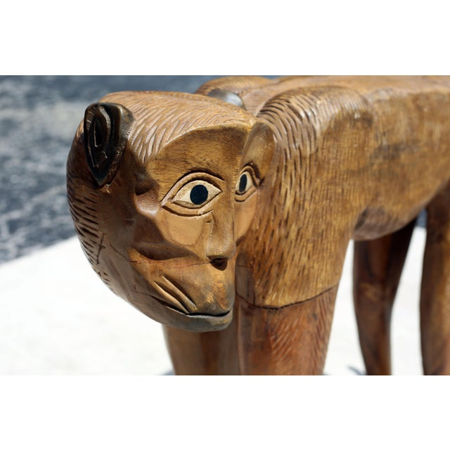 Figurative Vintage Hand-Carved Wood Chimpanzee Sculpture For Sale - Image 3 of 7