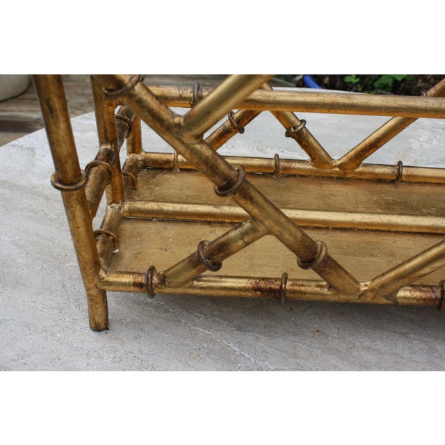 Gilt Faux Bamboo Chinoiserie Style Magazine Rack For Sale - Image 4 of 11