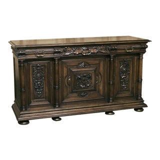 19th Century French Walnut Henri II Buffet For Sale