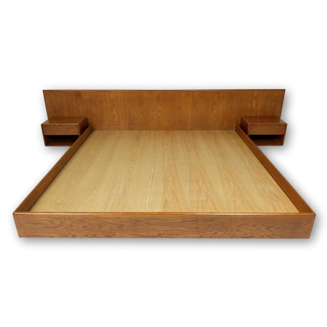 Contemporary Hand Crafted Mid-Century Danish Inspired Floating Platform Bed & Nightstands - King For Sale - Image 3 of 13