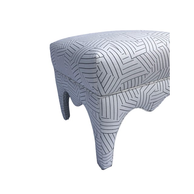 Textile Vintage Square Upholstered Ottoman For Sale - Image 7 of 8