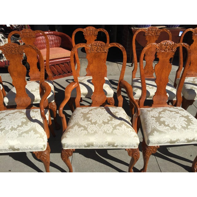 Burl Mahogany Chippendale Style Dining Chairs - Set of 10 - Image 7 of 12