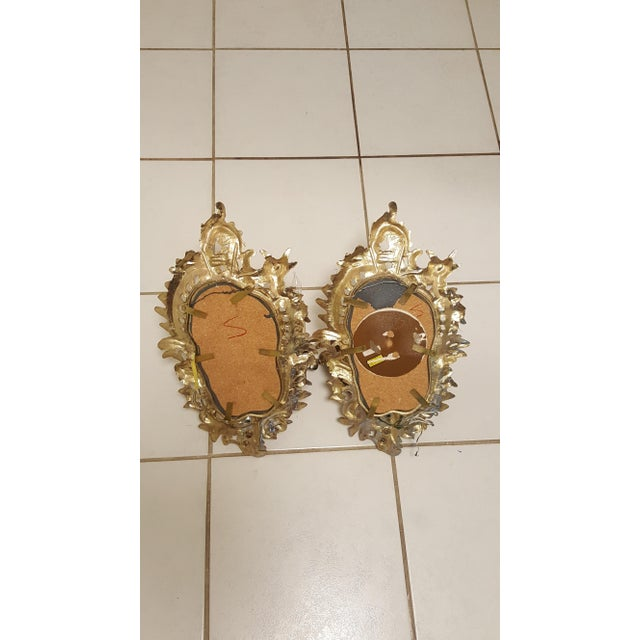 Antique Louis XVI Etched Gold Gilt-Bronze Mirrored Candelabra Wall Sconces - a Pair For Sale - Image 9 of 13