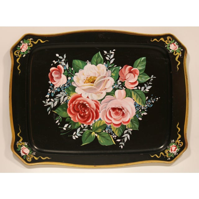 Vintage French Black Tole Tray With Floral Design For Sale In Tulsa - Image 6 of 9
