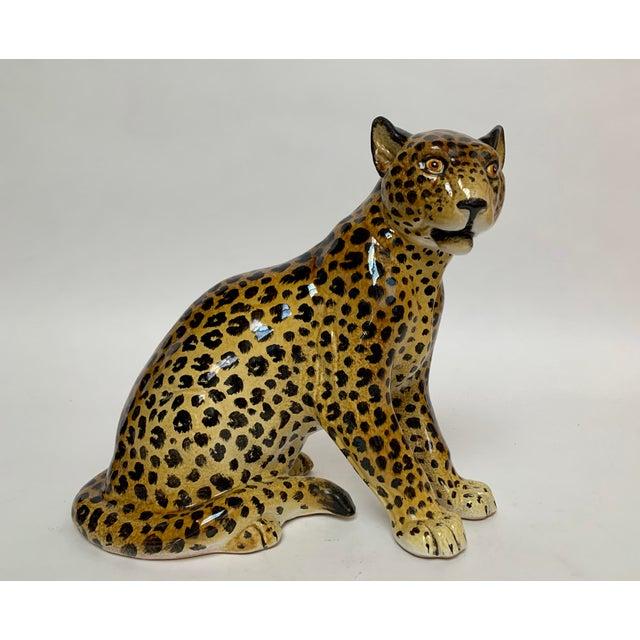 Ceramic Manlio Trucco Italian Terra Cotta Large Leopard Figure For Sale - Image 7 of 11