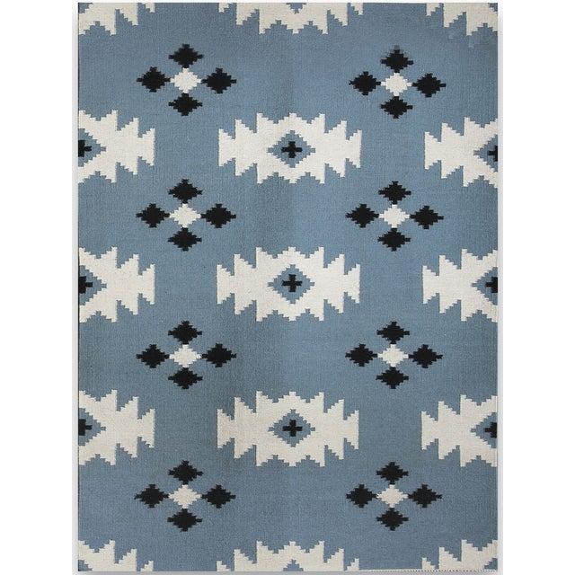 Zara Southwestern Blue Flat-Weave Rug 3'x5' For Sale - Image 4 of 4