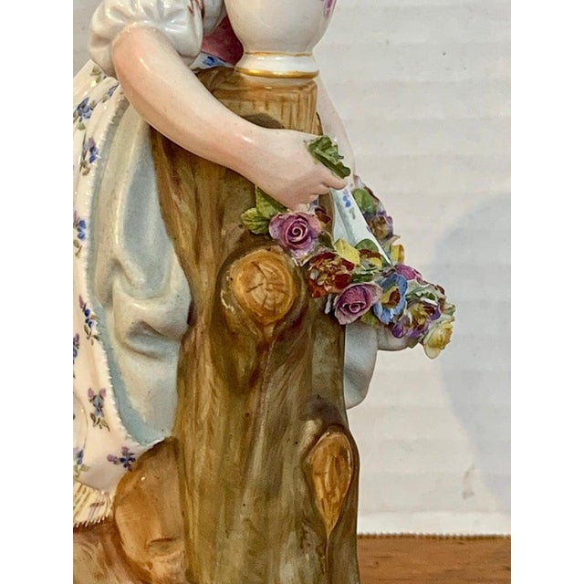 Ceramic Fine Late 19th Century Meissen Figurine of a Lady Gardener For Sale - Image 7 of 13