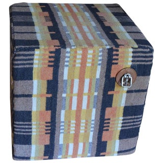 Wool Horse Blanket Upholstered Pouf Ottoman For Sale