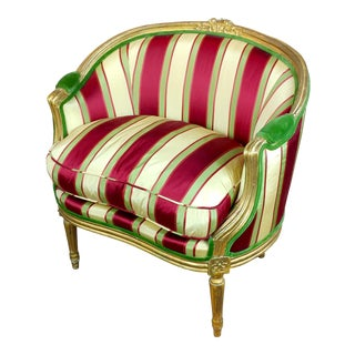 19th C. Louis XVI Bergere Chair W/Red & Yellow Striped Silk Upholstery For Sale