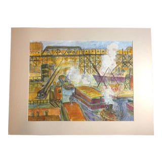 1950s Vintage WPA-Style Industrial Painting For Sale