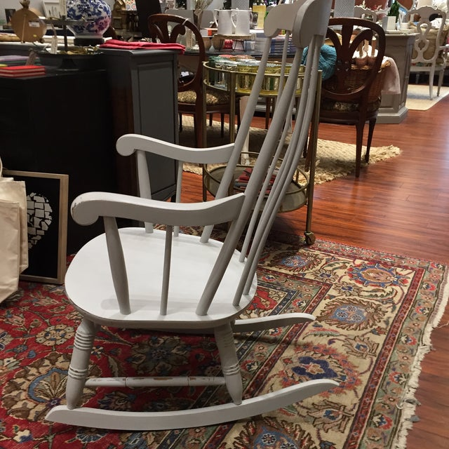 Vintage White Rocking Chair - Image 3 of 5 - Vintage White Rocking Chair Chairish