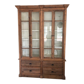 Shabby Chic Oak Bookcase With Glass Doors For Sale