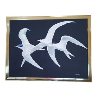Late 20th Century Charles Clifton Seagulls Signed Painting For Sale